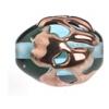 Glass Lamp Bead 14x10mm Oval Aqua/Copper